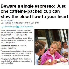 Daily Mail Online: Caffine can restrict blood flow